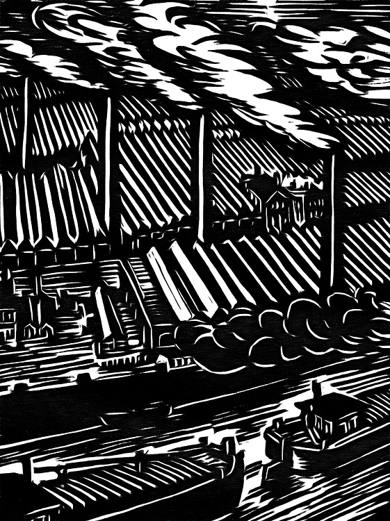A black / white drawing of a factory on the river with ships