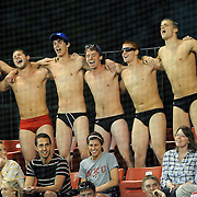 Joe Imel/Daily News.Members of WKU's Men's swim team between innings Tuesday in the Hilltoppers 12-2 win over visiting Murray State. The 21st ranked Hilltoppers have a five game homestand.