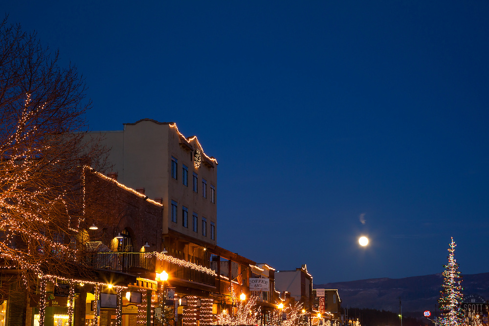 """Moon Over Truckee 3"" - Photograph of a moon rising over Truckee at night."