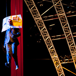 London, UK - 4 Janaury 2014: Patrick McGuire as the Father performs on stage during the dress rehearsal of Quidam at the Royal Albert Hall. (available only for editorial coverage of the Production)
