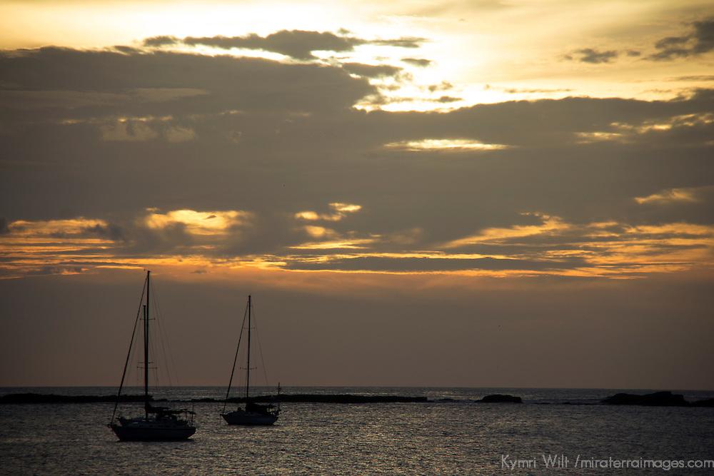 Central America, Nicaragua, San Juan del Sur. Sailboats in harbor at sunset, San Juan del Sur.