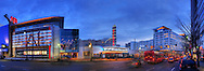 Panorama of downtown Silver Spring, MD featuring AFI Silver Theater and the Discovery Communications building.  Image captured in 2010.  Panorama of Lincoln Memorial looking toward the Washington Monument. <br /> Image Captured in 2012.<br /> Print Size (in inches): 15x5; 24x8; 36x12.5; 48x16.5; 60x21; 72x25.5