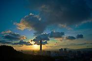 Sunset behind Taipei 101 in Taipei, Taiwan.