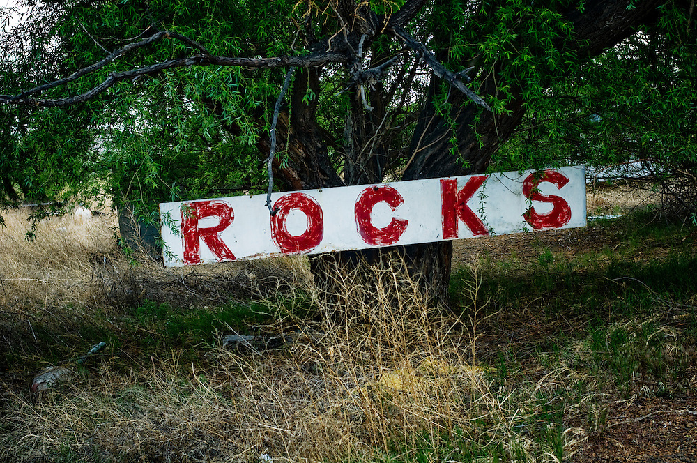 "A sign announcing ""Rocks"" in Green River, Utah..Photographer: Chris Maluszynski /MOMENT"
