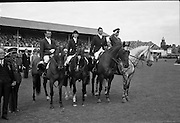 RDS Horse Show. Members of the winning Irish team at attention for the National Anthem following their victory. Pictured (l-r) are Tommy Wade, Diana Connolly-Carew, Seamus Hayes and Captain W.A. Ringrose.<br /> 08.08.1963