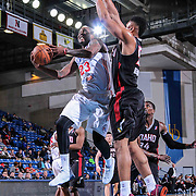 Delaware 87ers Forward Victor Rudd (23) drives towards the basket as Idaho Stampede Forward Jerrelle Benimon (50) defends in the second half of a NBA D-league regular season basketball game between the Delaware 87ers and the Idaho Stampede (Utah Jazz) Tuesday, Feb. 03, 2015 at The Bob Carpenter Sports Convocation Center in Newark, DEL