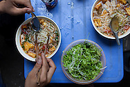 bun rieu, rice noodles served in a broth made from paddy crabs. Hanoi, Vietnam