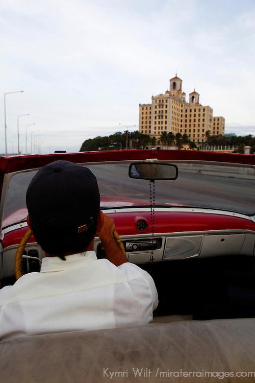 Central America, Cuba, Havana. Classic Car and Hotel Nacional in Havana.