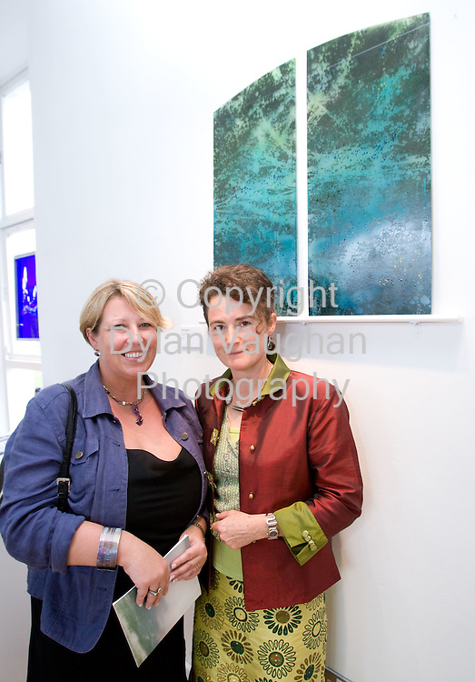 191/8/07.Kim Mawhinney,  Ulster Museum, and Mary Mackey from Bandon, Co Cork pictured  at the opening of The Light Fantastic : Irish Stained Glass Art at the Craft Council of Irelands National Craft Gallery in Kilkenny as part of the Kilkenny Arts Festival..The exhibition runs until the 30th of September..Picture Dylan Vaughan.