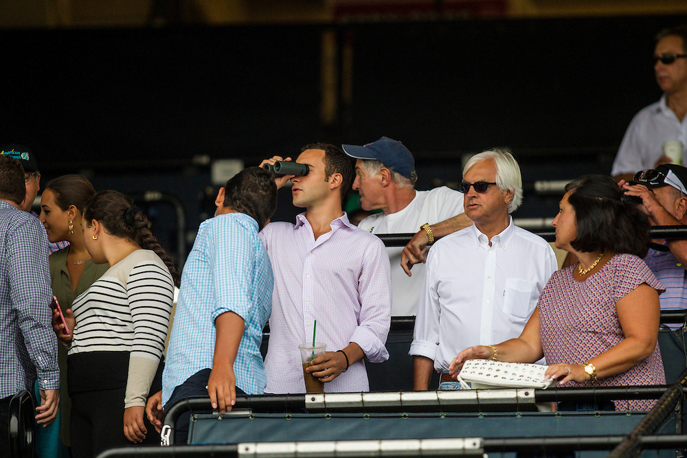 August 23, 2015: Trainer Bob Baffert, and Zayat Stables Racing Manager Justin  Zayat watch American Pharaoh workout at Del Mar Race Course, Del Mar CA. Alex Evers/ESW/CSM