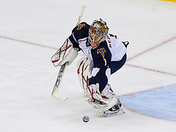Nov 1, 2008; Newark, NJ, USA; Atlanta Thrashers goalie Johan Hedberg (1) makes a save during the second period at the Prudential Center.