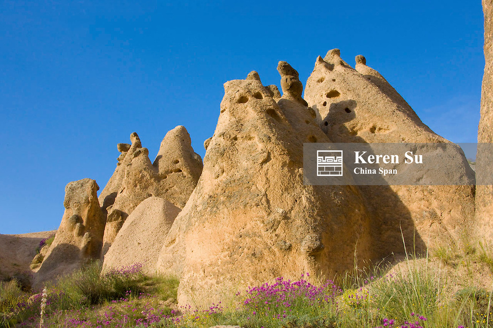 Rock pillars in Cappadocia, Central Anatolia, Turkey