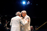 UK. London. Christoph von Dohnanyi (right) and pianist Alfred Brendel after the Philharmonia Orchestra's performance of Beethoven's Piano Concerto No.5 in E flat major during the BBC's Proms, in London's Royal Albert Hall. It was Alfred Brendel's last Proms appearance..Photo©Steve Forrest/Workers' Photos