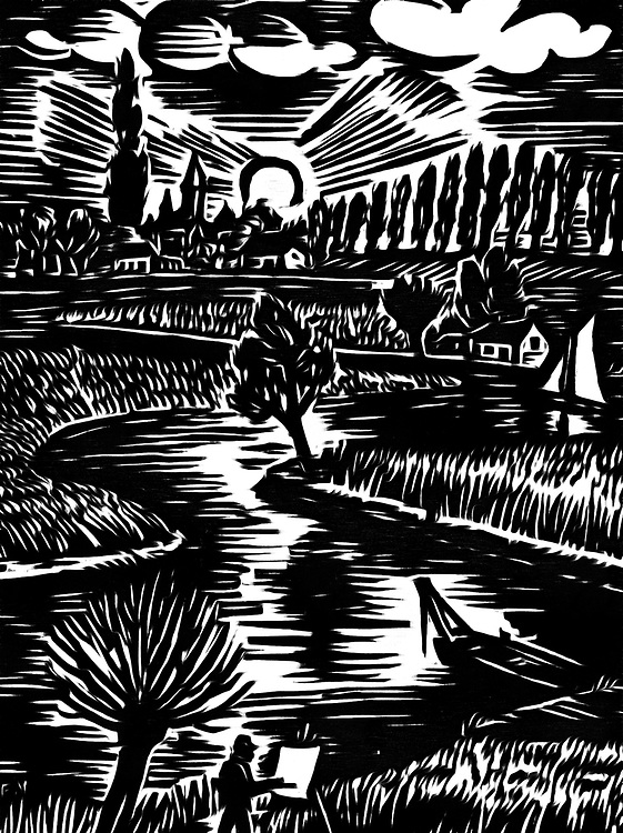 Pure black / white drawing of countryside with a river. A painter is the landscape painting