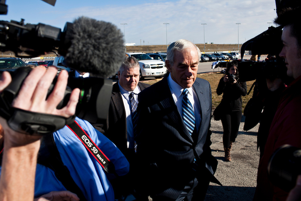 Republican presidential candidate Ron Paul arrives for a campaign town hall meeting on Wednesday, December 28, 2011 in Newton, IA.