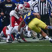 Stony Brook defensive back TYRICE BEVERETTE (6) tackles a player during a week eight game between the Delaware Blue Hens and the Stony Brook Seawolves, Saturday, Oct. 22, 2016 at Tubby Raymond Field at Delaware Stadium in Newark, DE.