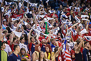 Gonzaga students wave rally towels for National Gonzaga Day during the men's basketball game against the Memphis Tigers at the McCarthey Athletic Center in Spokane, WA, Saturday, Jan. 31, 2015. (Ryan Sullivan/Gonzaga University)