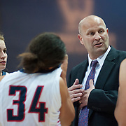 Coach Kelley Graves with Zags near the end of the game. (Austin Ilg photo, Gonzaga Bulletin)