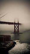Golden Gate Bridge as seen from above Crissy Field, San Francisco, California, USA.