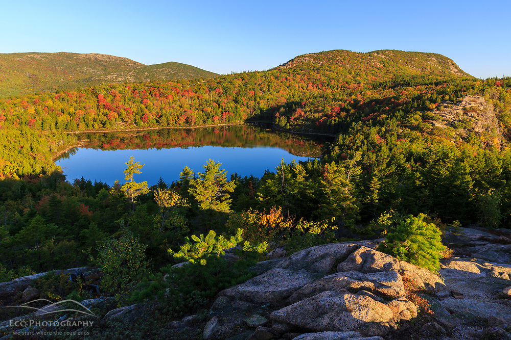 """The view of Champlain Mountain and """"the Bowl"""" from ledges on """"The Beehive"""" in Maine's Acadia National Park."""