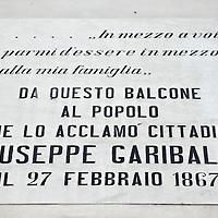 Chioggia, Venetian Lagoon, Italy 30 June 2009<br /> Garibaldi's street sign on a house of Chioggia.<br /> PHOTO: EZEQUIEL SCAGNETTI