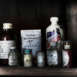 vintage pills bottles at derelict Potters Mansion