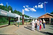 Alaska. Fairbanks. Guests at the Trans-Alaska pipeline visitor center on Steese Highway.