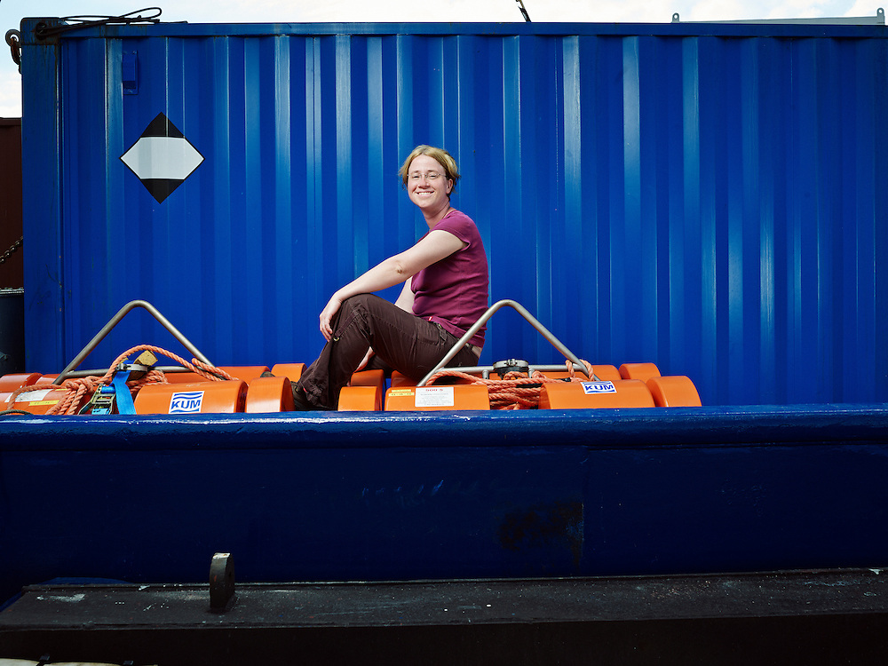 LE PORT, LA RÉUNION, FRANCE. NOVEMBER 10, 2013. Karin Sigloch, Assistant Professor in Geophysics, studying sismology around the Réunion Island's volcano. She's posing on the Meteor, the boat she's been using to retrieve sismic sensors from under the ocean. Photo: Antoine Doyen