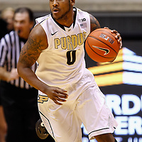 WEST LAFAYETTE, IN - JANUARY 27: Terone Johnson #0 of the Purdue Boilermakers brings the ball up court during the game against the Iowa Hawkeyes at Mackey Arena on January 27, 2013 in West Lafayette, Indiana. Purdue defeated Iowa 65-62 in overtime. (Photo by Michael Hickey/Getty Images) *** Local Caption *** Terone Johnson