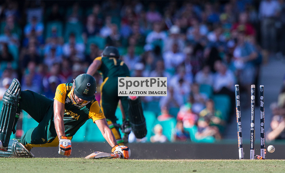 ICC Cricket World Cup 2015 Tournament Match, South Africa v West Indies, Sydney Cricket Ground; 27th February 2015<br /> South Africa&rsquo;s Rilee Rossouw scrapes home in a near run out.