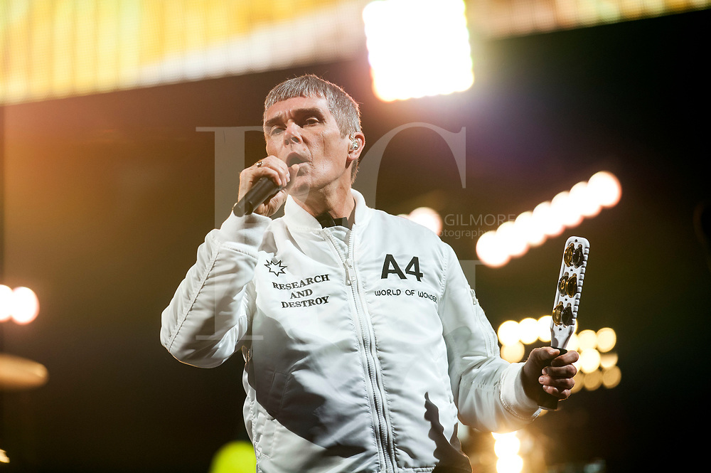 Ian Brown of the Stone Roses headlines the main stage on Day 1 of the T in the Park festival at Strathallan Castle on July 08, 2016 in Perth, Scotland.