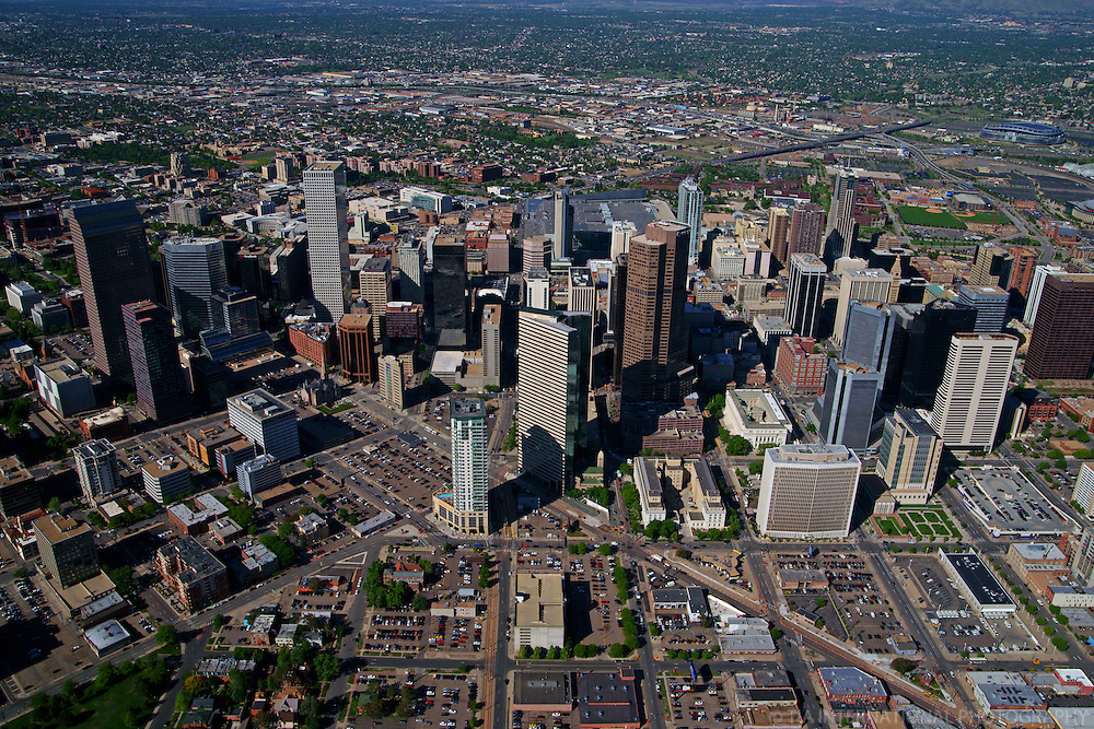 Aerial View, Downtown Denver & Broadway