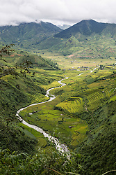 Rice paddy fields landscape in Mu Cang Chai, Vietnam, Southeast Asia