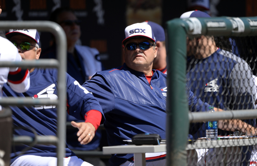 CHICAGO - APRIL 23:  Pitching coach Don Cooper #99 of the Chicago White Sox looks on from the dugout against the Cleveland Indians on April 23, 2017 at Guaranteed Rate Field in Chicago, Illinois.  The White Sox defeated the Indians 6-2.  (Photo by Ron Vesely)   Subject:  Don Cooper