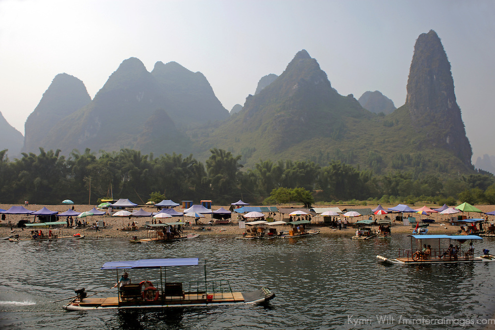 Asia, China, Guilin. Karst Formations and Shore Activity of Li River.