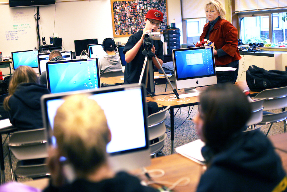 Deb Barnes' students use high-end cameras, software and audio equipment to make music videos at Sabin-Schellenberg Professional Technical Center in Milwaukie on Thursday, Dec. 15, 2011.