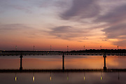 The pedestrian bridge at sunset, White Rock Lake, Dallas, Texas