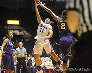 "Ole Miss's Shantell Black (11) shoots against LSU's Jasmine Nelson (2)  vs. LSU on Sunday, January 17, 2010 at the C.M. ""Tad"" Smith Coliseum in Oxford, Miss."