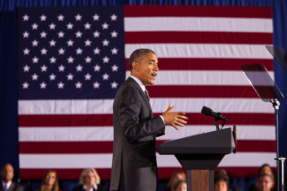 WASHINGTON, USA - February 2: President Barack Obama speaks at the Department of Homeland Security about his newly revealed budget and Republicans threat to not approve funding for the agency in Washington, D.C. on February 2, 2015. Samuel Corum / Anadolu Agency