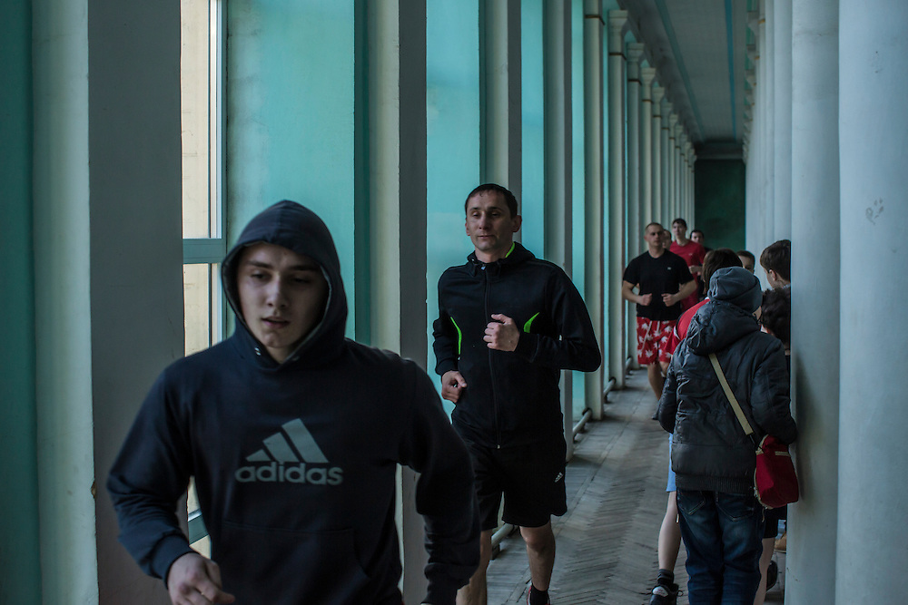 Athletes train at the Shakhtar Palace of Sport on Wednesday, March 23, 2016 in Donetsk, Ukraine.