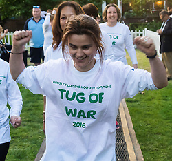 Westminster, London, June 6th 2016.The judge prepares for another match as teams from uk industry as well as the House of Commons and the House of Lords compete in the annual McMillan Cancer Charity tug o' war. PICTURED: Jo Cox MP prepares to take place in the House of Commons tug-of-war team.