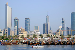 Skyline of Kuwait City from Dhow Harbour in Kuwait
