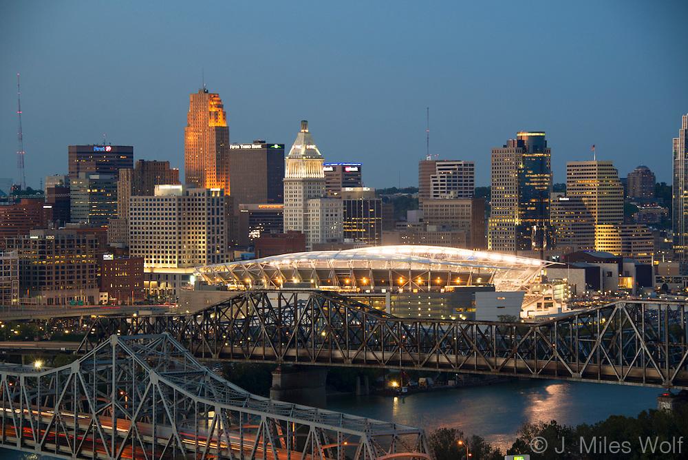 Cincinnati Skyline  Night Twilight Paul Brown Stadium