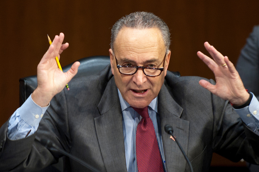 "Senator CHUCK SCHUMER (D-NY) makes a statement to members of the Senate Judiciary Committee as they discuss the ""Respect for Marriage Act,"" legislation which would repeal the Defense of Marriage Act (DOMA). DOMA is the Clinton-era law that defined marriage between a man and a woman. The Committee voted 10-8 along party lines in favor for the Respect for Marriage Act."