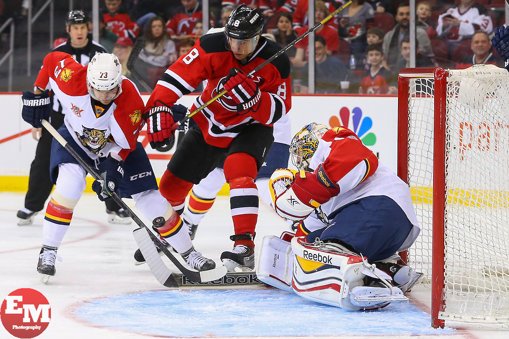 Mar 31, 2014; Newark, NJ, USA; Florida Panthers center Brandon Pirri (73) and New Jersey Devils right wing Dainius Zubrus (8) battle for the puck in front of Florida Panthers goalie Dan Ellis (39) during the first period at Prudential Center.
