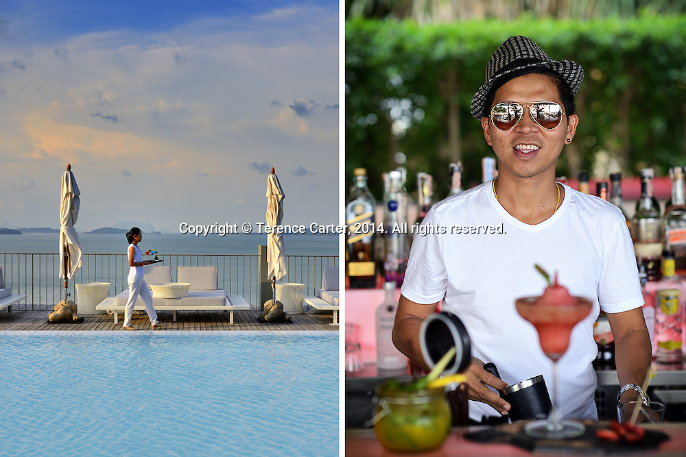 Point Yamu by COMO (left), Zazada Beach Club (right), Phuket, Thailand. Copyright 2014 Terence Carter / Grantourismo. All Rights Reserved.