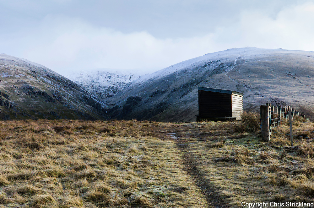 The Auchope Mountain Rescue hut on the Pennine Way in the Cheviot Hills.