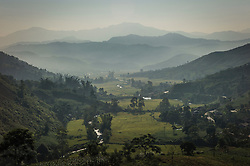View overlooking a peaceful valley between Nghia Lo and Mu Cang Chai, Yen Bai Province, Northern Vietnam, Southeast Asia
