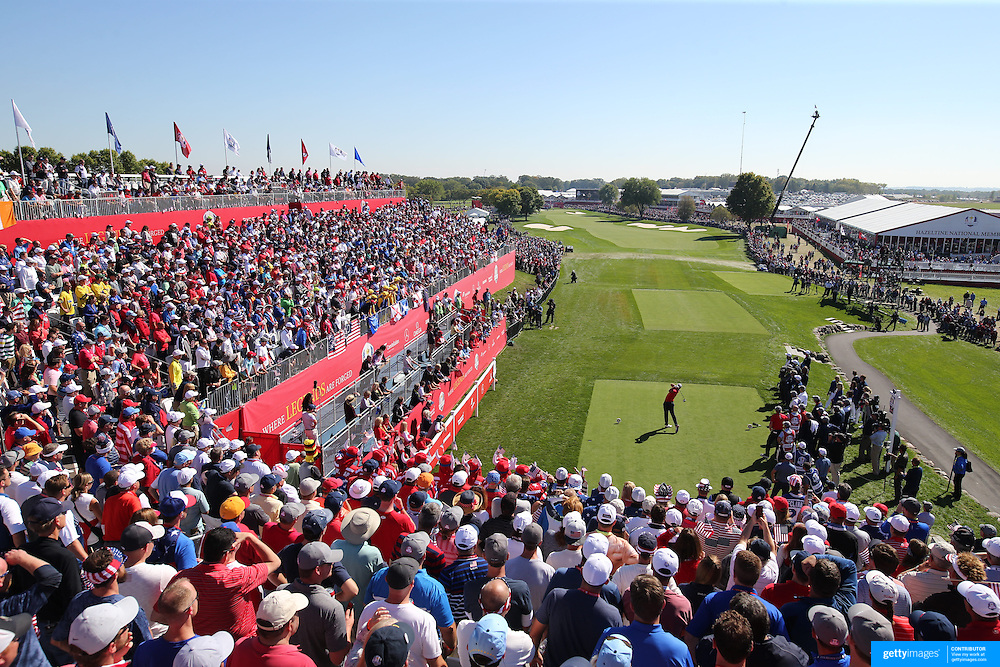 Ryder Cup 2016. Day One. Brooks Koepka of the United States tees off at the first hole in the Friday afternoon four ball during the Ryder Cup competiton at the Hazeltine National Golf Club on September 30, 2016 in Chaska, Minnesota.  (Photo by Tim Clayton/Corbis via Getty Images)