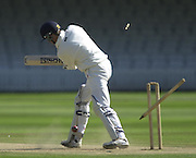 Photo Peter Spurrier.01/09/2002.Village Cricket Final - Lords.Elvaston C.C. vs Shipton-Under-Wychwood C.C..Elvasron's opening Batsman Charles Ault is bowled by Shipton's Pual Snell